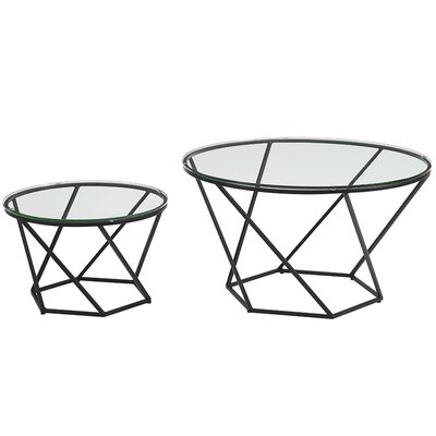 Aman Geometric Glass Coffee Tables Base Finish: Black
