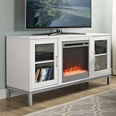 Depp Wood 52 TV Stand with Optional Fireplace Color: White, Fireplace Included: Yes