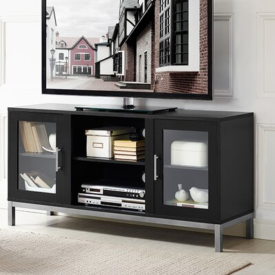 Depp Wood 52 TV Stand with Optional Fireplace Color: Black, Fireplace Included: No