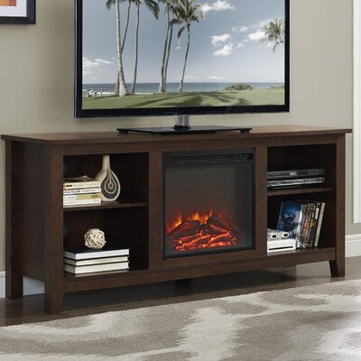 Sunbury 58 TV Stand with Optional Fireplace Color: Traditional Brown, Fireplace Included: Yes
