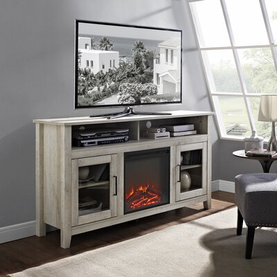 Isabel Highboy 58 TV Stand with Fireplace Color: White Oak