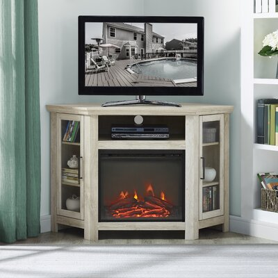 Rena Corner 48 TV Stand with Fireplace Color: White Oak
