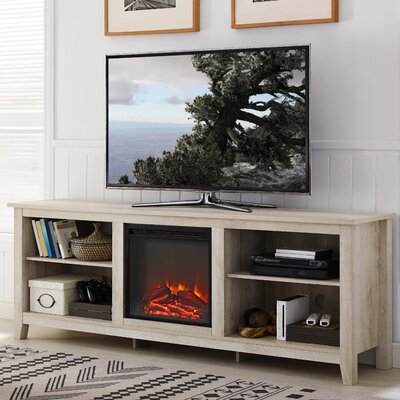 Sunbury 70 TV Stand with optional Fireplace Color: White Oak, Fireplace Included: Yes