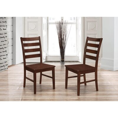 Sheetal Ladder Back Solid Wood Dining Chair Color: Walnut