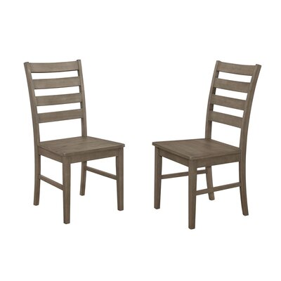 Sheetal Ladder Back Solid Wood Dining Chair Color: Aged Gray