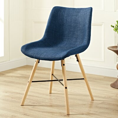 Vanwinkle Upholstered Linen Side Chair (Set of 2) Upholstery: Blue