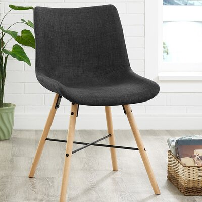 Vanwinkle Upholstered Linen Side Chair (Set of 2) Upholstery: Charcoal