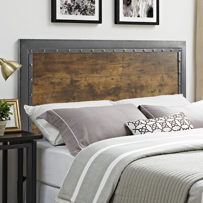 Alanha Industrial Wood and Metal Queen Panel Headboard