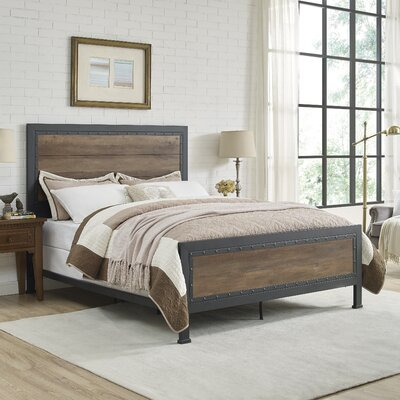 Berta Industrial Queen Bed Color: Rustic Oak