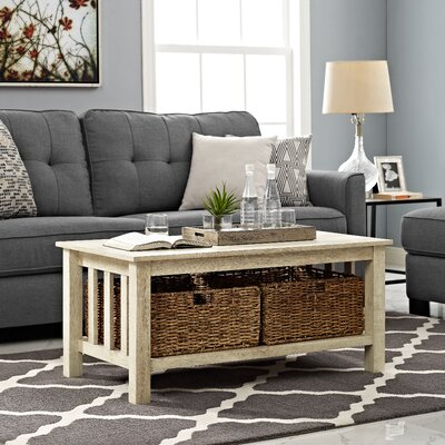 Denning Storage Coffee Table Color: White Oak