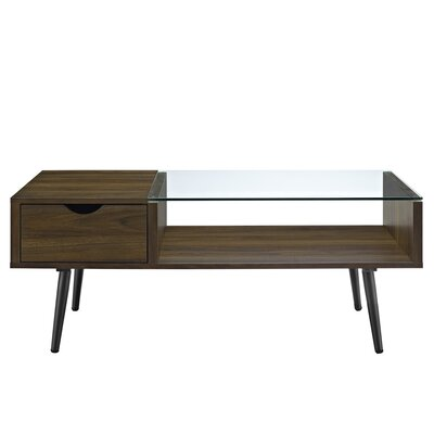Cirillo Wood and Glass Coffee Table Table Base Color: Dark Walnut