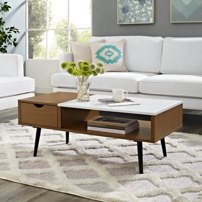 Cirillo Wood and Faux Marble Coffee Table Table Base Color: Pecan