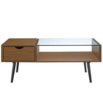 Cirillo Wood and Glass Coffee Table Table Base Color: Pecan