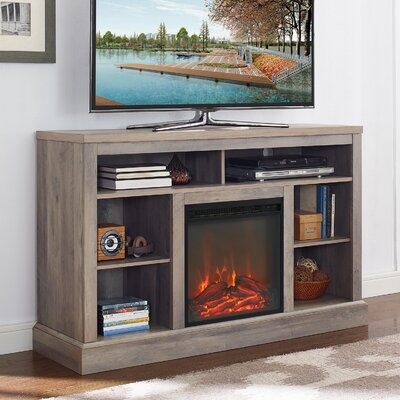 Mahaffey 52 TV Stand with Fireplace Color: Gray Wash
