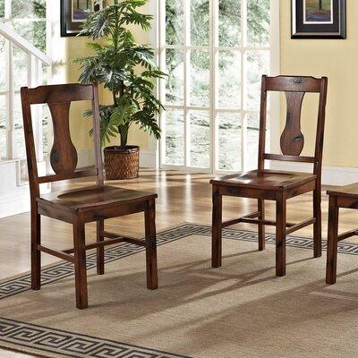 Home Loft Concept Walker Edison Solid Wood Dark Oak Dining Chairs (Set of 2)