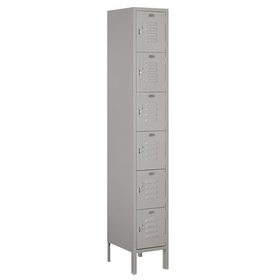 Salsbury Standard Metal Locker-six Tier Box Style-1 Wide-6 Feet High-15 Inches Deep-gray-unassembled - 66165gy-u - 12 W Style 66165GY-U