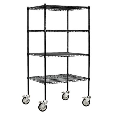 """Salsbury Industries Wire Mobile Shelving Finish: Chrome, Size: 80"""" H x 60"""" W x 24"""" D - 9654M-CHR"""