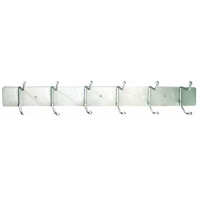 6 Wall Mounted Coat Rack Finish: Silver