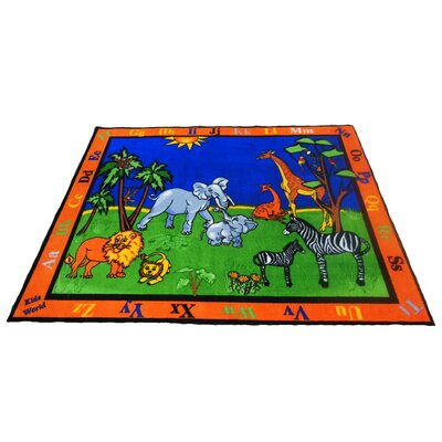 Precious Babies Safari Animals Area Rug Rug Size: 66 x 84