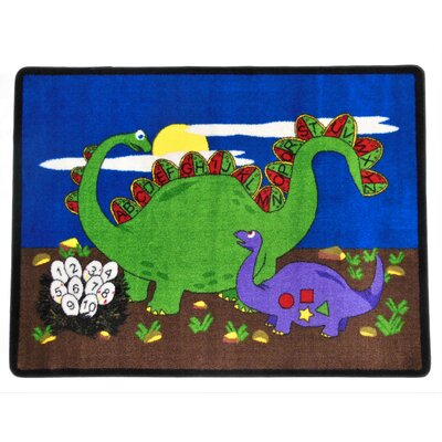 Dino Land Blue/Green Area Rug