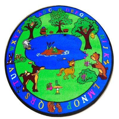 Forest Friends Childrens Educational and Play Blue/Green Area Rug