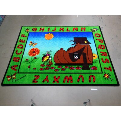 Cute Ladybug Green/Brown Area Rug Rug Size: 66 x 84