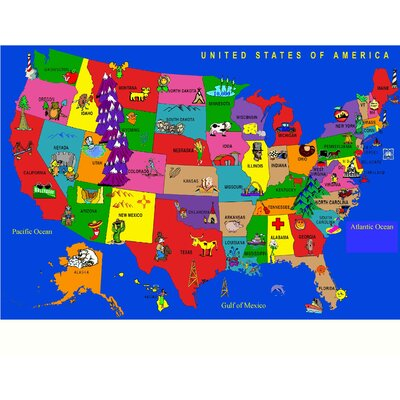Fun Learning USA Cartoon Map Area Rug Rug Size: 66 x 84