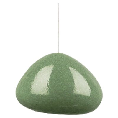 River Rock Wedge Monopoint 1-Light Mini Pendant Finish: Satin Nickel, Shade Color: Green Slate