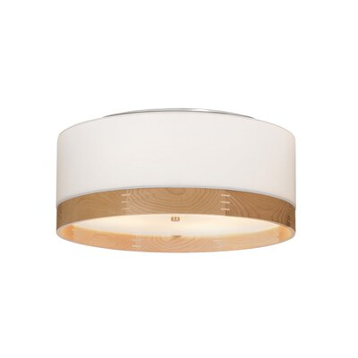 Hobart 4-Light Flush Mount Fixture Finish: Satin Nickel, Shade Color: White/Walnut Wood