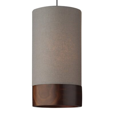 Topo 1-Light Mini Pendant Finish: Satin Nickel, Shade Color: Gray/Walnut Wood, Mounting Type: Monopoint