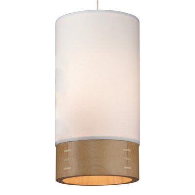 Topo 1-Light Mini Pendant Finish: Satin Nickel, Shade Color: White/Mapple Wood, Mounting Type: Monopoint