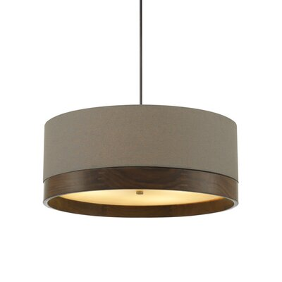 Hogan Suspension 1-Light Drum Pendant Finish: Polished Nickel, Shade Color: Heather Gray/Walnut