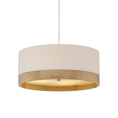 Hockett Suspension 1-Light Drum Pendant Finish: Satin Nickel, Shade Color: White/Walnut