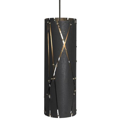 Crossroads 1-Light Monorail Mini Pendant Bulb Type: Halogen, Finish: Steel/Antique Bronze