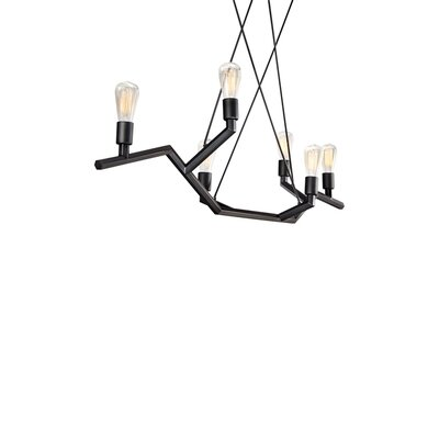Akimbo 6-Light Kitchen Island Pendant Finish: Black, Size: 36 H x 48 W x 12.90 D