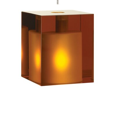 Cube 1-Light Mini Pendant Shade Color: Amber, Finish: Antique Bronze