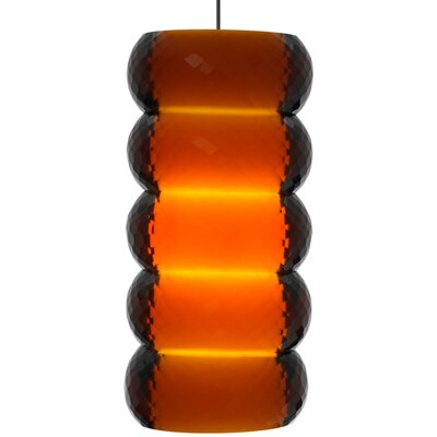 Bangle 1-Light Mini Pendant Base Finish: Satin Nickel, Shade Color: Amber