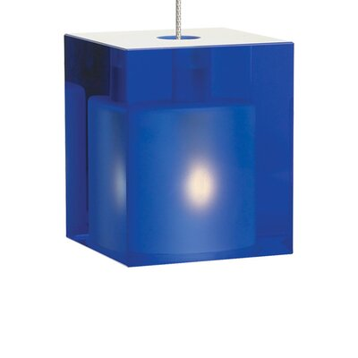 Cube 1-Light Mini Pendant Finish: Satin Nickel, Shade Color: Cobalt