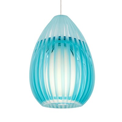 Ava 1-Light Monopoint Mini Pendant Finish: Satin Nickel, Shade Color: Aqua