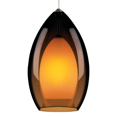 Fire Grande 1-Light Inverted Pendant Finish: Satin Nickel, Shade Color: Havana Brown