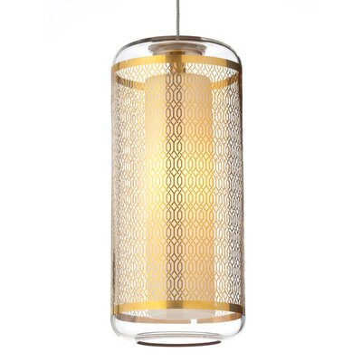 Ecran 1-Light Kable Lite Mini Pendant Shade Color: Clear/Polished Gold, Bulb Type: Halogen, Finish: Satin Nickel