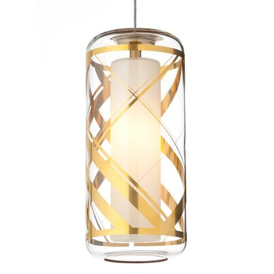 Ecran Monopoint 1-Light Mini Pendant Finish: Satin Nickel, Shade Color: Clear/Polished Gold, Bulb Type: Halogen