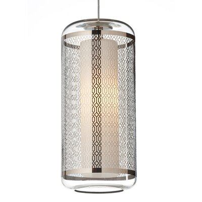 Ecran Drum Pendant Base Finish: Satin Nickel, Shade Color: Platinum