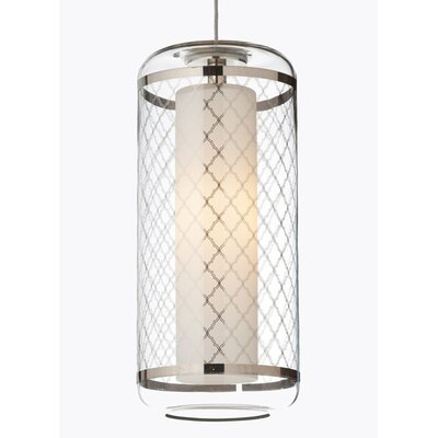 Ecran Drum Pendant Shade Color: Platinum, Base Finish: Antique Bronze