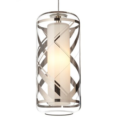 Ecran Kable Lite Mini Pendant Finish: Chrome, Shade Color: Clear/Polished Platinum, Bulb Type: Halogen