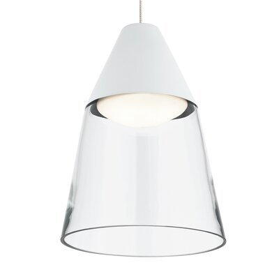 Masque Monorail 1-Light LED Mini Pendant Shade Color: Clear/White, Bulb Type: Halogen