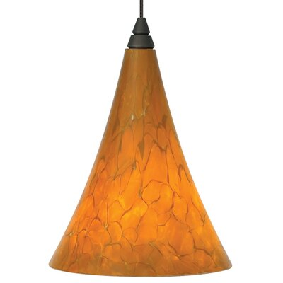 Melrose Mini Pendant Base Finish: Satin Nickel, Shade Color: Tahoe Pine Amber