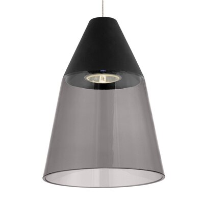 Masque Monopoint 1-Light Mini Pendant Shade Color: Smoke/Black, Bulb Type: Halogen