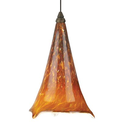 Ovation Mini Pendant Shade Color: Tahoe Pine Amber, Base Finish: Antique Bronze
