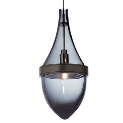 Parfum 1-Light Mini Pendant Base Finish: Antique Bronze, Shade Color: Transparent Smoke